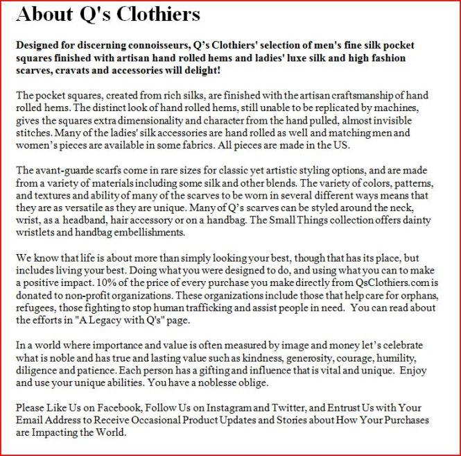 Q's Clothier About Page